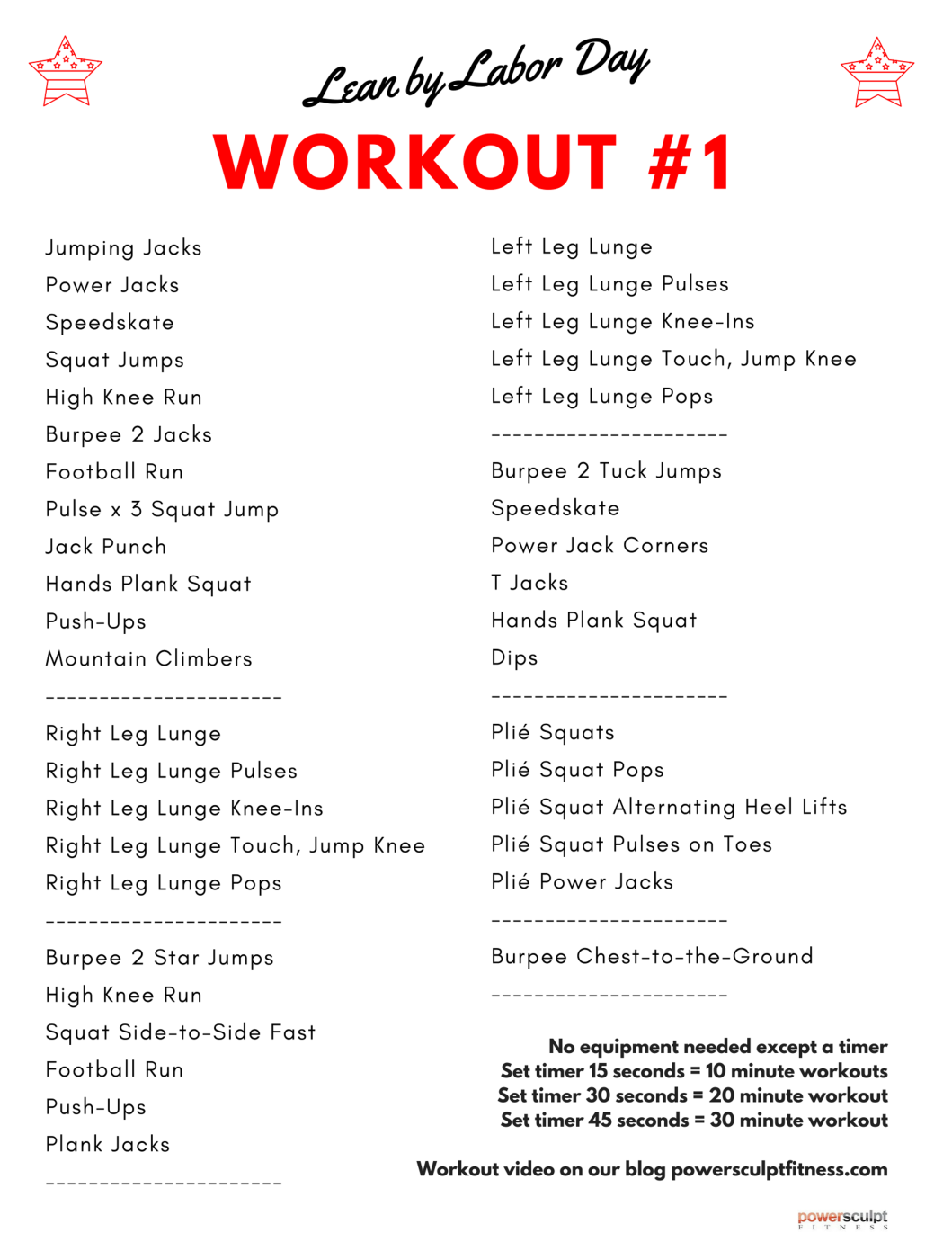 Lean By Labor Day At Home Workouts