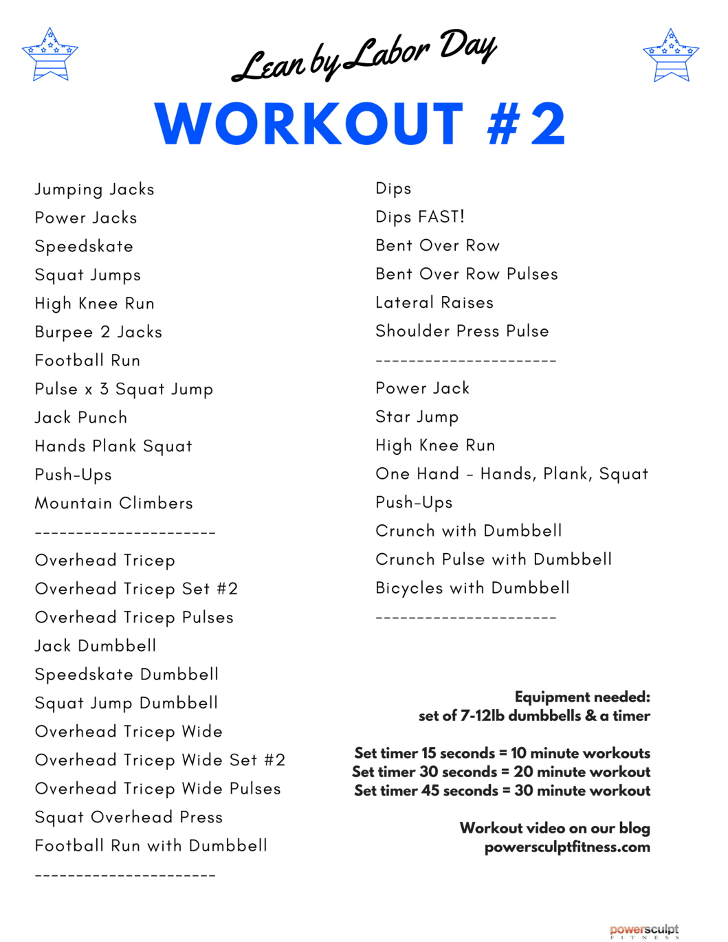LEAN BY LABOR DAY WORKOUTS